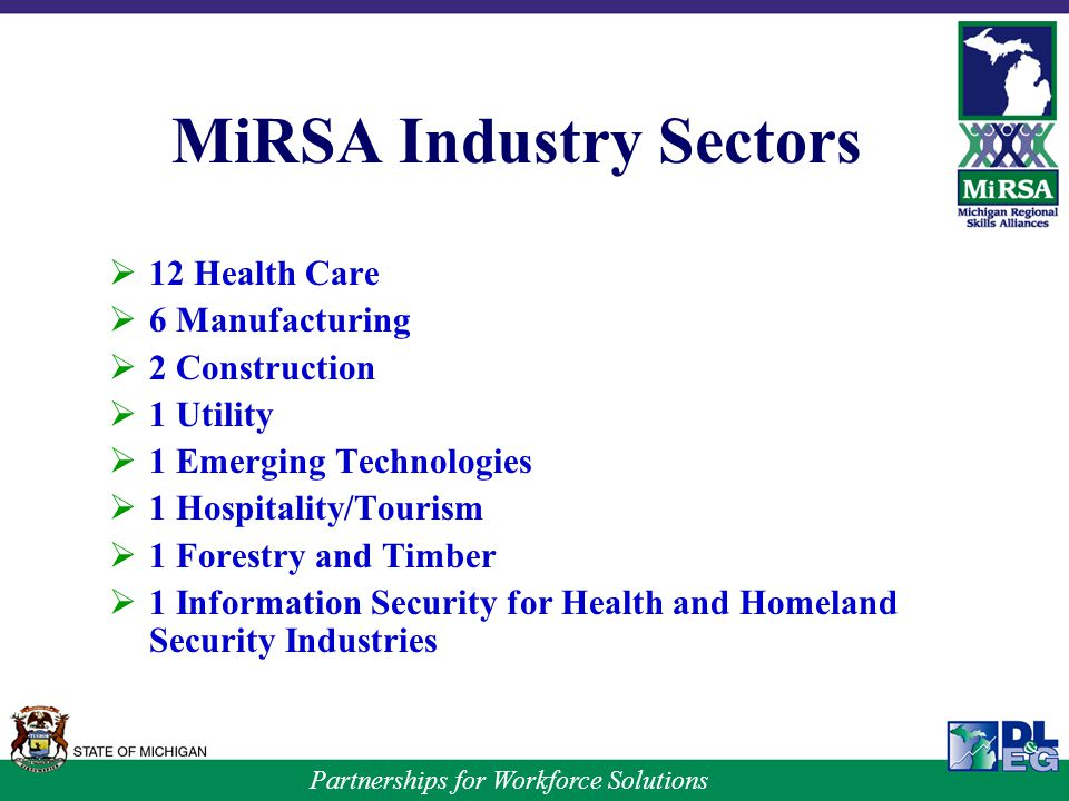 Partnerships for Workforce Solutions MiRSA Industry Sectors  12 Health Care  6 Manufacturing  2 Construction  1 Utility  1 Emerging Technologies  1 Hospitality/Tourism  1 Forestry and Timber  1 Information Security for Health and Homeland Security Industries