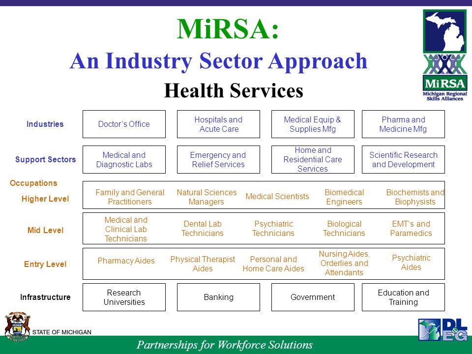 Partnerships for Workforce Solutions MiRSA: An Industry Sector Approach Health Services Doctor's Office Hospitals and Acute Care Medical Equip & Supplies Mfg Medical and Diagnostic Labs Emergency and Relief Services Home and Residential Care Services Research Universities BankingGovernment Pharma and Medicine Mfg Scientific Research and Development Education and Training Support Sectors Industries Higher Level Mid Level Entry Level Infrastructure Occupations Family and General Practitioners Natural Sciences Managers Medical Scientists Biomedical Engineers Biochemists and Biophysists Medical and Clinical Lab Technicians Dental Lab Technicians Psychiatric Technicians Biological Technicians EMT's and Paramedics Pharmacy Aides Physical Therapist Aides Personal and Home Care Aides Nursing Aides, Orderlies and Attendants Psychiatric Aides