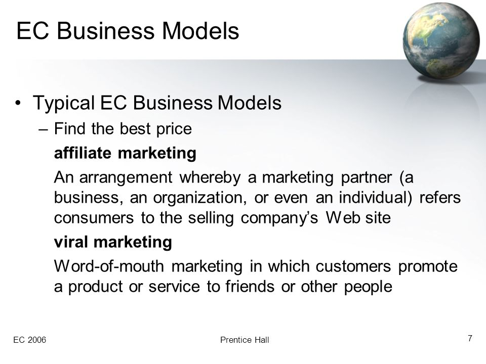 EC 2006Prentice Hall 8 EC Business Models Typical EC Business Models group purchasing Quantity purchasing that enables groups of purchasers to obtain a discount price on the products purchased SMEs Small-to-medium enterprises e-co-ops Another name for online group purchasing organizations