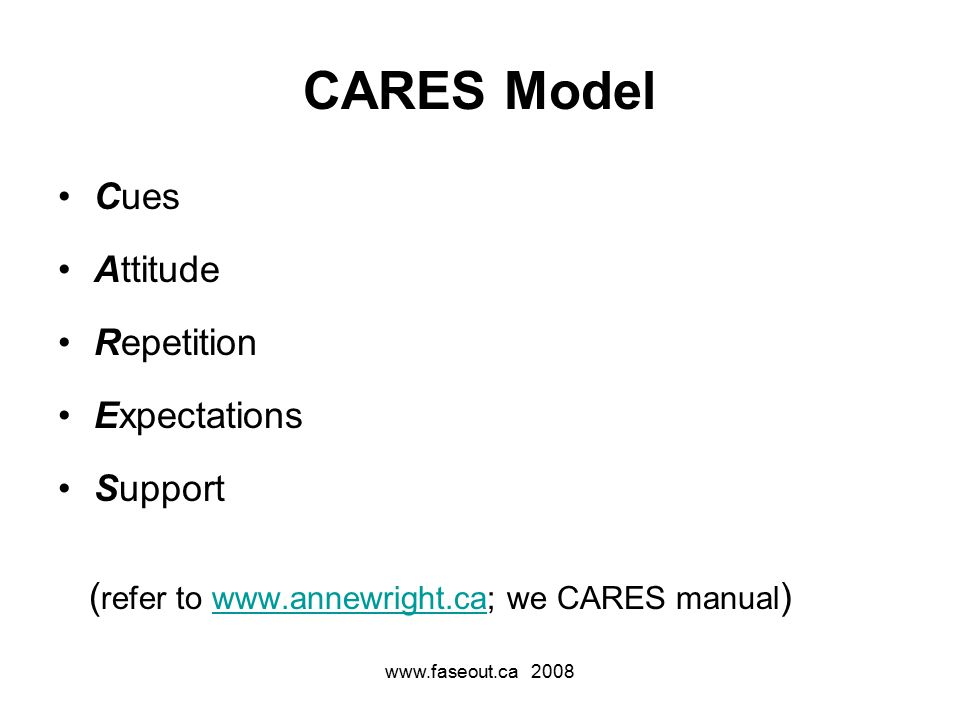 www.faseout.ca 2008 CARES Model Cues Attitude Repetition Expectations Support ( refer to www.annewright.ca; we CARES manual )www.annewright.ca