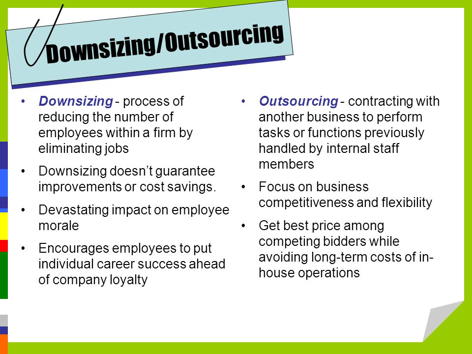 Downsizing - process of reducing the number of employees within a firm by eliminating jobs Downsizing doesn't guarantee improvements or cost savings.