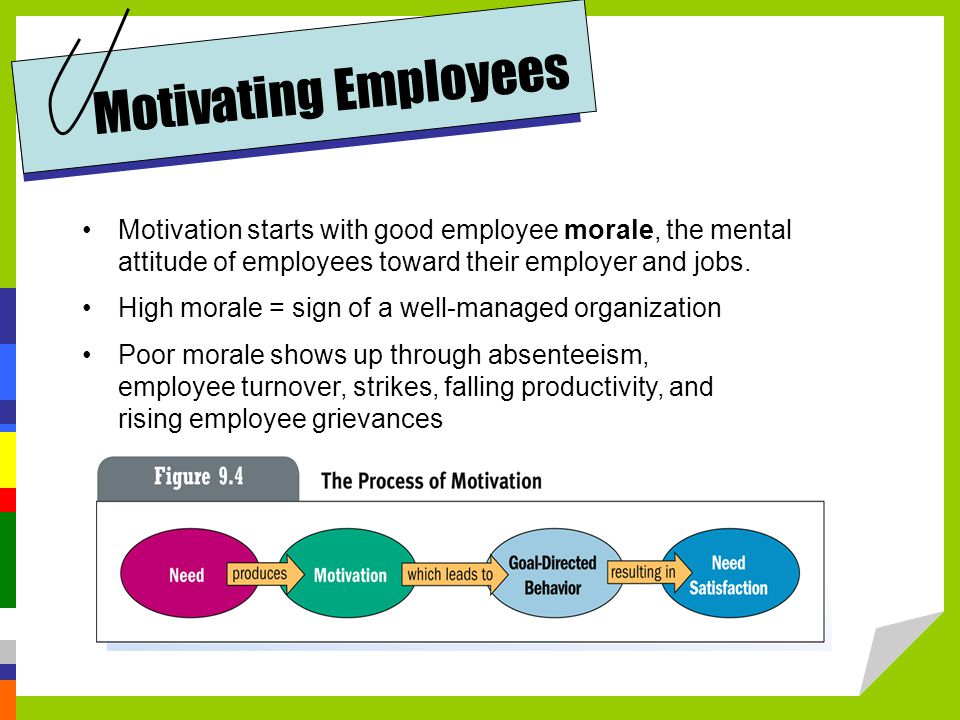 Motivation starts with good employee morale, the mental attitude of employees toward their employer and jobs.