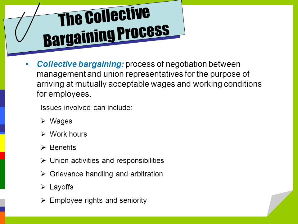 Collective bargaining: process of negotiation between management and union representatives for the purpose of arriving at mutually acceptable wages and working conditions for employees.