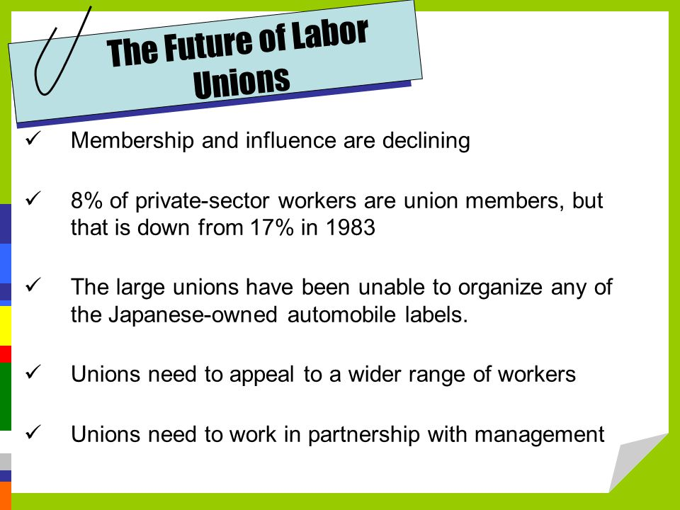 The Future of Labor Unions Membership and influence are declining 8% of private-sector workers are union members, but that is down from 17% in 1983 The large unions have been unable to organize any of the Japanese-owned automobile labels.