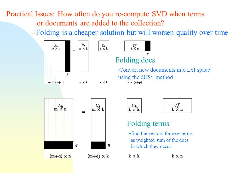 Folding docs -Convert new documents into LSI space using the dUS -1 method Folding terms - find the vectors for new terms as weighted sum of the docs in which they occur Practical Issues: How often do you re-compute SVD when terms or documents are added to the collection.