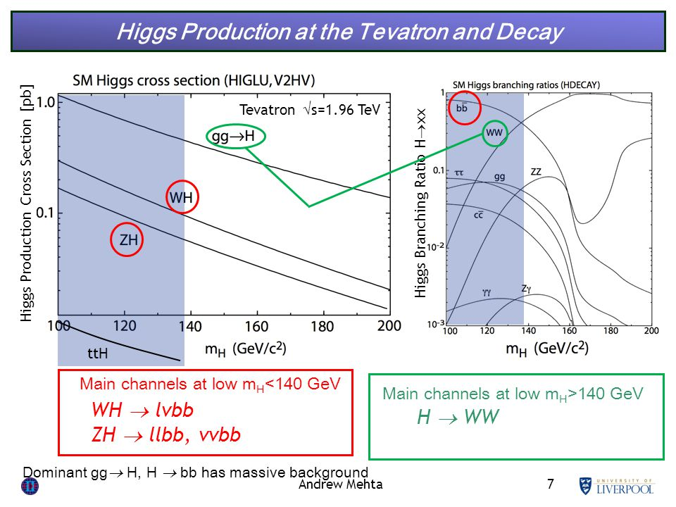 7 Higgs Production at the Tevatron and Decay Higgs Production Cross Section [pb] Higgs Branching Ratio H  xx WH  lvbb ZH  llbb, vvbb Main channels at low m H <140 GeV Tevatron  s=1.96 TeV ttH Andrew Mehta Dominant gg  H, H  bb has massive background Main channels at low m H >140 GeV H  WW