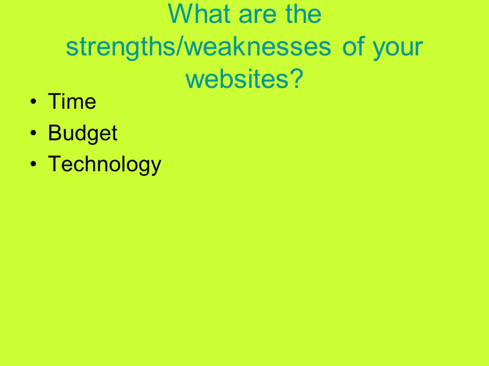 What are the strengths/weaknesses of your websites Time Budget Technology