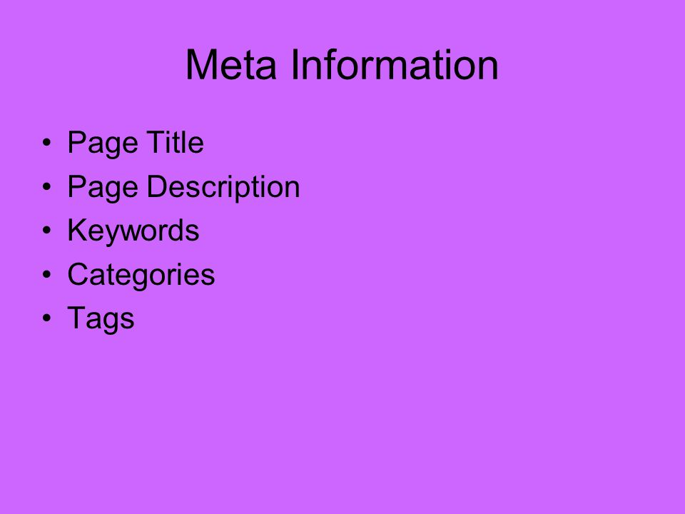 Meta Information Page Title Page Description Keywords Categories Tags