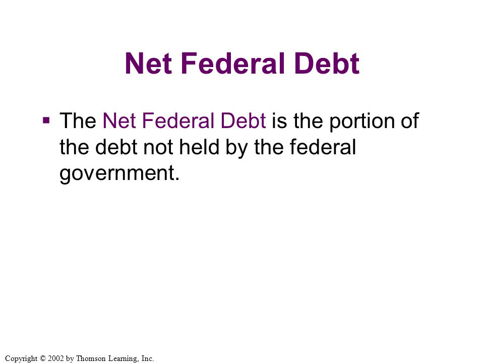 Net Federal Debt  The Net Federal Debt is the portion of the debt not held by the federal government.