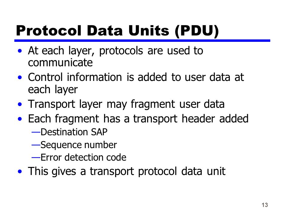 13 Protocol Data Units (PDU) At each layer, protocols are used to communicate Control information is added to user data at each layer Transport layer may fragment user data Each fragment has a transport header added —Destination SAP —Sequence number —Error detection code This gives a transport protocol data unit