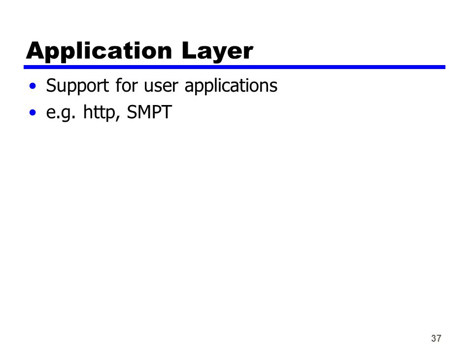 37 Application Layer Support for user applications e.g. http, SMPT