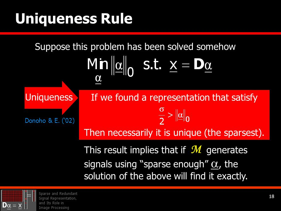 Sparse and Redundant Signal Representation, and Its Role in Image Processing 18 Uniqueness Rule Suppose this problem has been solved somehow This result implies that if generates signals using sparse enough , the solution of the above will find it exactly.
