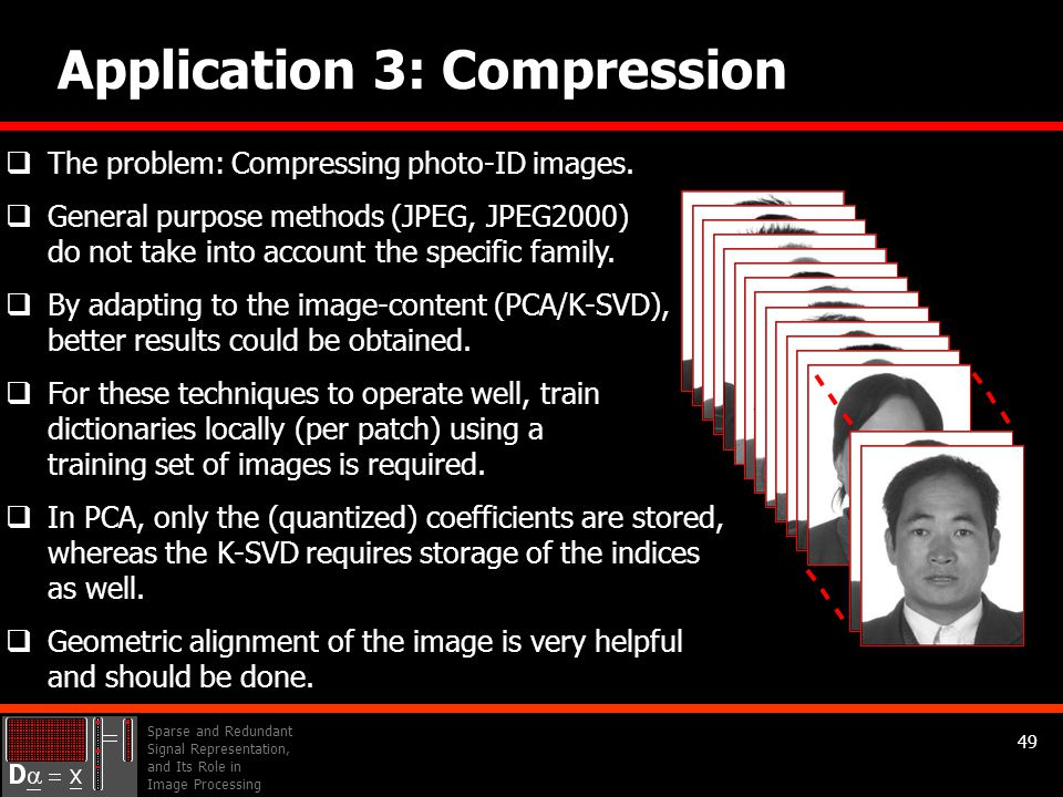 Sparse and Redundant Signal Representation, and Its Role in Image Processing 49 Application 3: Compression  The problem: Compressing photo-ID images.