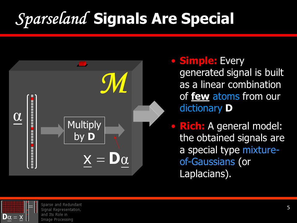 Sparse and Redundant Signal Representation, and Its Role in Image Processing 5 Simple: Every generated signal is built as a linear combination of few atoms from our dictionary D Rich: A general model: the obtained signals are a special type mixture- of-Gaussians (or Laplacians).