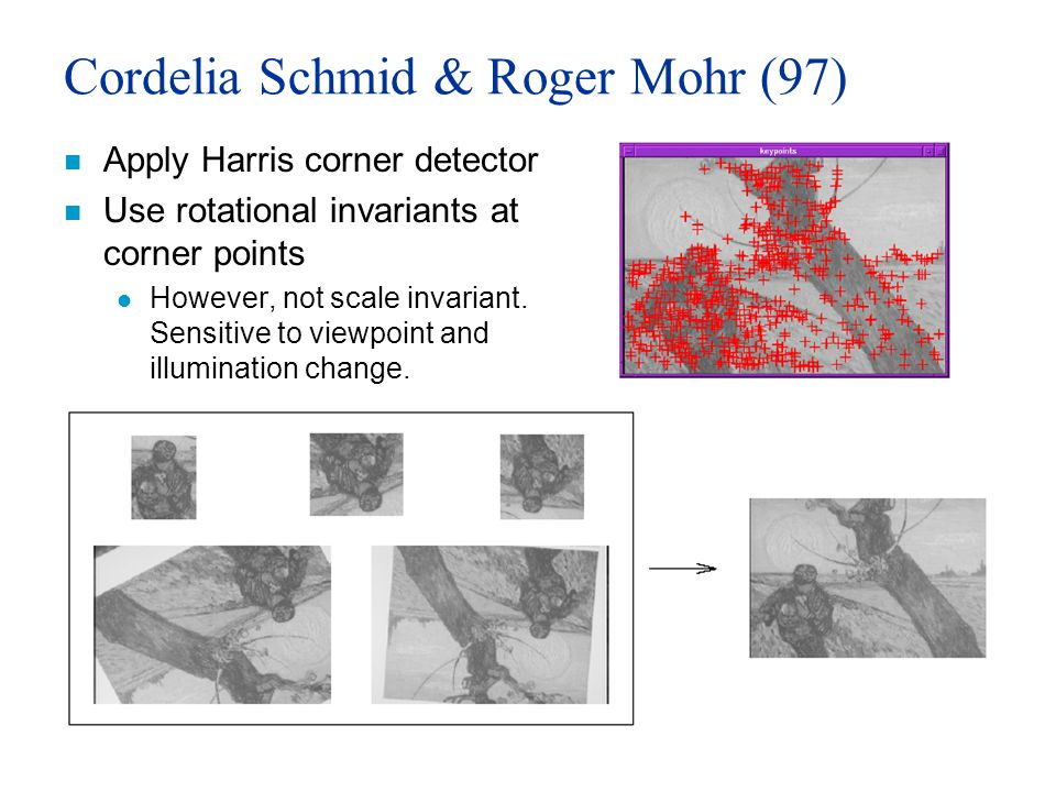 Cordelia Schmid & Roger Mohr (97) n Apply Harris corner detector n Use rotational invariants at corner points l However, not scale invariant.