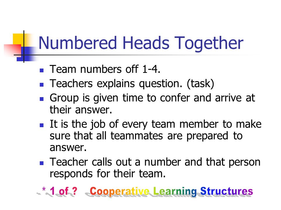 Numbered Heads Together Team numbers off 1-4. Teachers explains question.