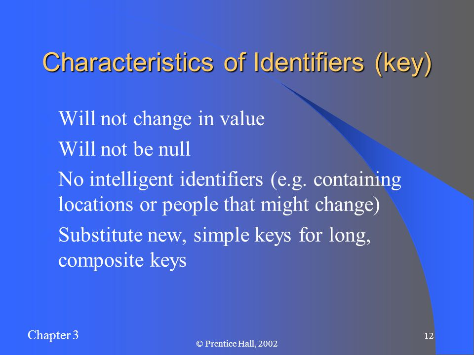 Chapter 3 © Prentice Hall, Characteristics of Identifiers (key) Will not change in value Will not be null No intelligent identifiers (e.g.