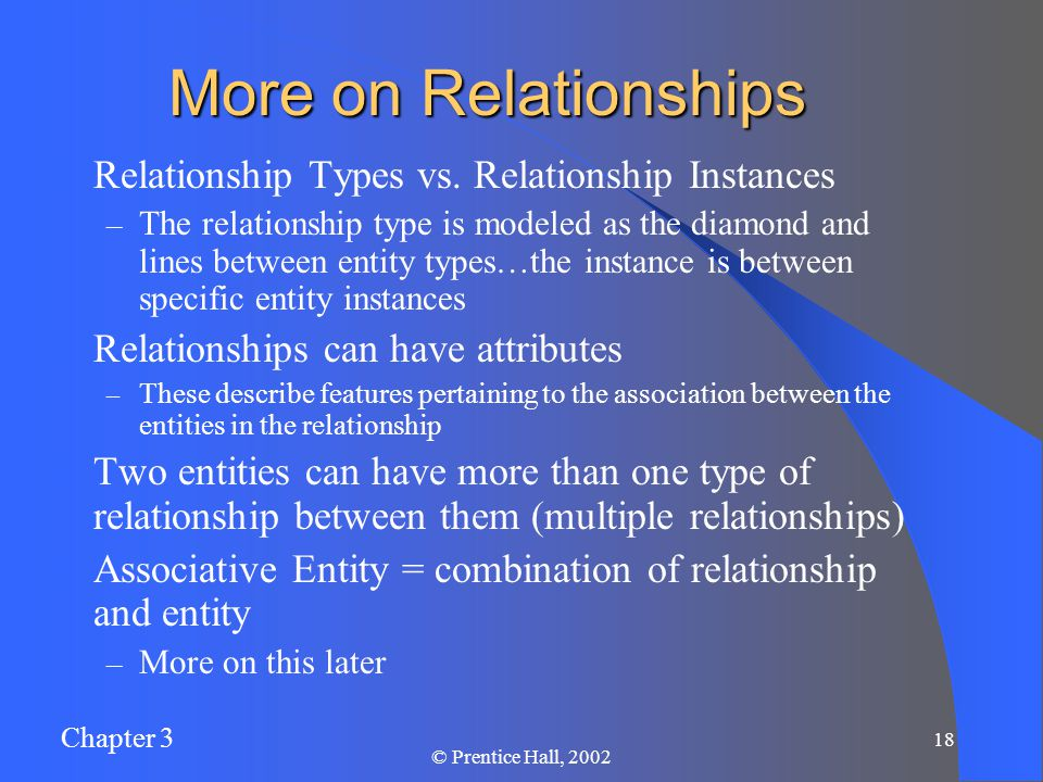 Chapter 3 © Prentice Hall, More on Relationships Relationship Types vs.