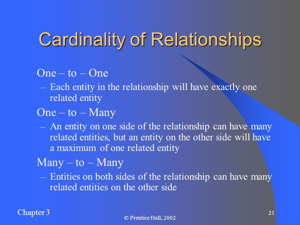 Chapter 3 © Prentice Hall, Cardinality of Relationships One – to – One – Each entity in the relationship will have exactly one related entity One – to – Many – An entity on one side of the relationship can have many related entities, but an entity on the other side will have a maximum of one related entity Many – to – Many – Entities on both sides of the relationship can have many related entities on the other side