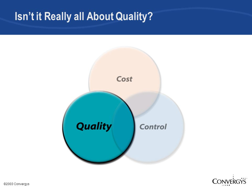 ©2003 Convergys Isn't it Really all About Quality