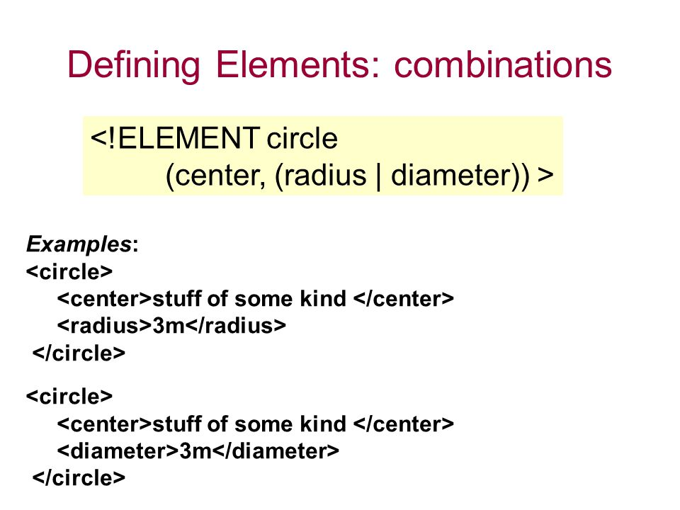 Defining Elements: combinations <!ELEMENT circle (center, (radius | diameter)) > Examples: stuff of some kind 3m stuff of some kind 3m