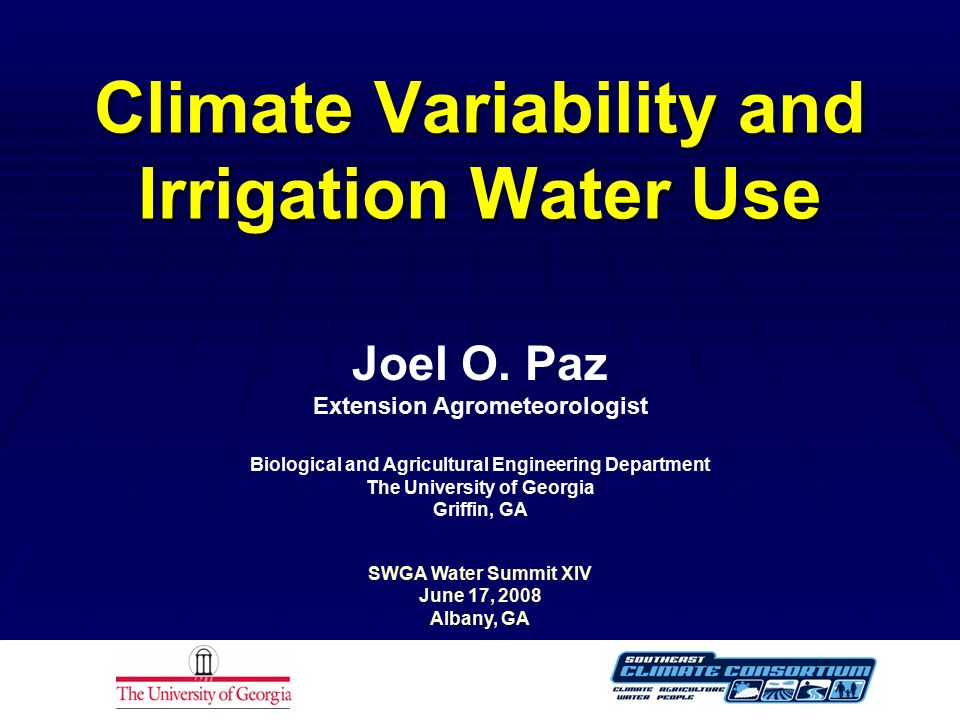 Climate Variability and Irrigation Water Use Joel O.