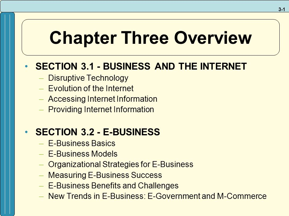 3-1 Chapter Three Overview SECTION 3.1 - BUSINESS AND THE INTERNET –Disruptive Technology –Evolution of the Internet –Accessing Internet Information –
