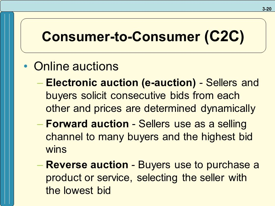 3-20 Consumer-to-Consumer (C2C) Online auctions –Electronic auction (e-auction) - Sellers and buyers solicit consecutive bids from each other and pric