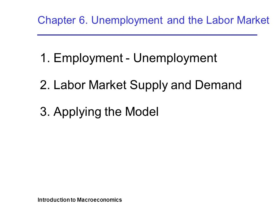 Introduction to Macroeconomics Chapter 6. Unemployment and the Labor Market 1.