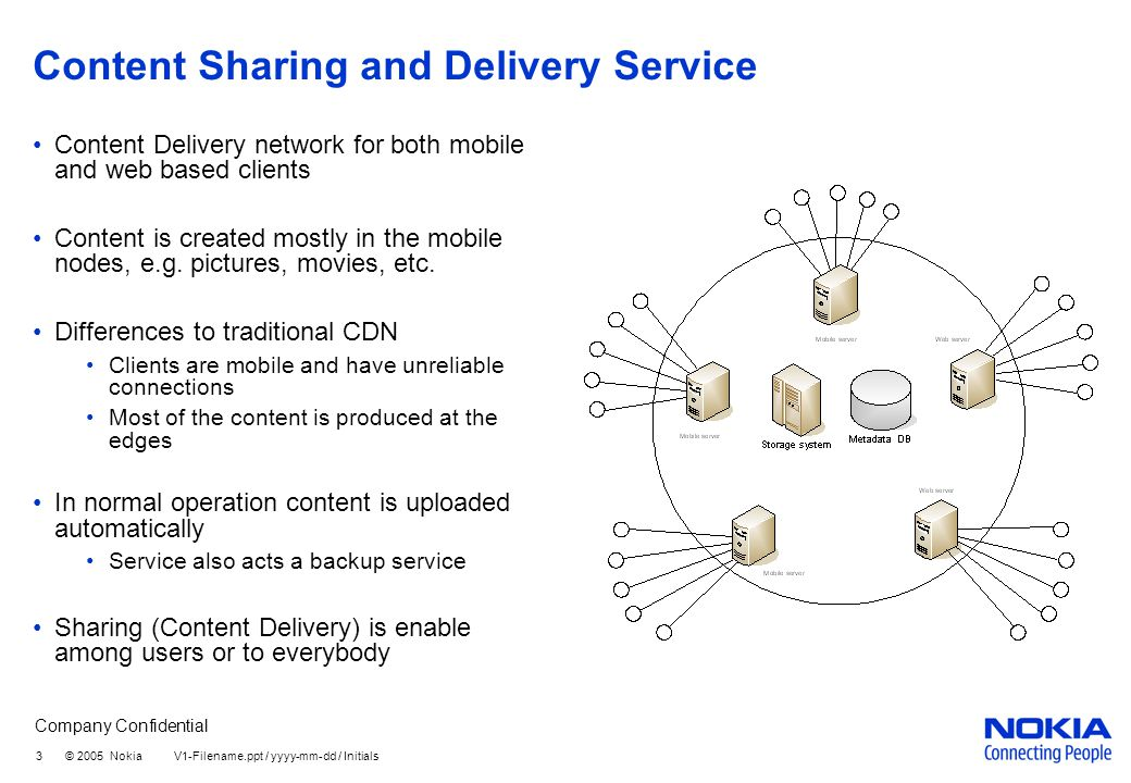 Company Confidential 3 © 2005 Nokia V1-Filename.ppt / yyyy-mm-dd / Initials Content Sharing and Delivery Service Content Delivery network for both mobile and web based clients Content is created mostly in the mobile nodes, e.g.