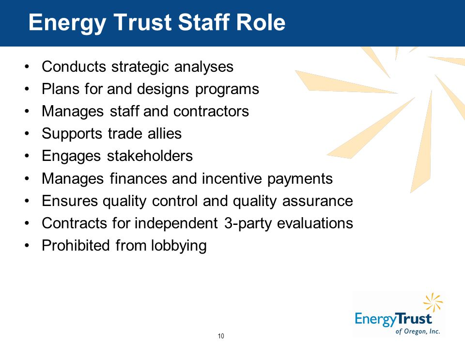 10 Energy Trust Staff Role Conducts strategic analyses Plans for and designs programs Manages staff and contractors Supports trade allies Engages stakeholders Manages finances and incentive payments Ensures quality control and quality assurance Contracts for independent 3-party evaluations Prohibited from lobbying
