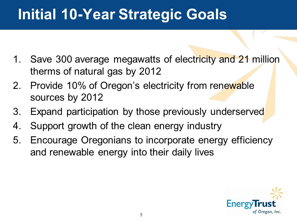 5 Initial 10-Year Strategic Goals 1.Save 300 average megawatts of electricity and 21 million therms of natural gas by Provide 10% of Oregon's electricity from renewable sources by Expand participation by those previously underserved 4.Support growth of the clean energy industry 5.Encourage Oregonians to incorporate energy efficiency and renewable energy into their daily lives