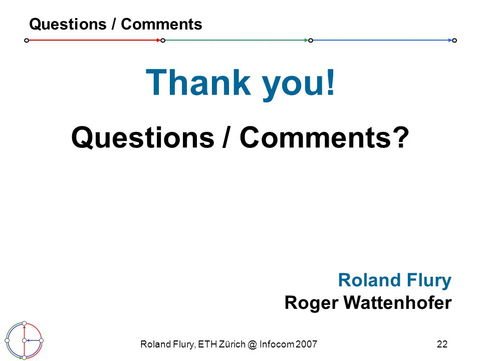 Roland Flury, ETH Infocom Questions / Comments Thank you.