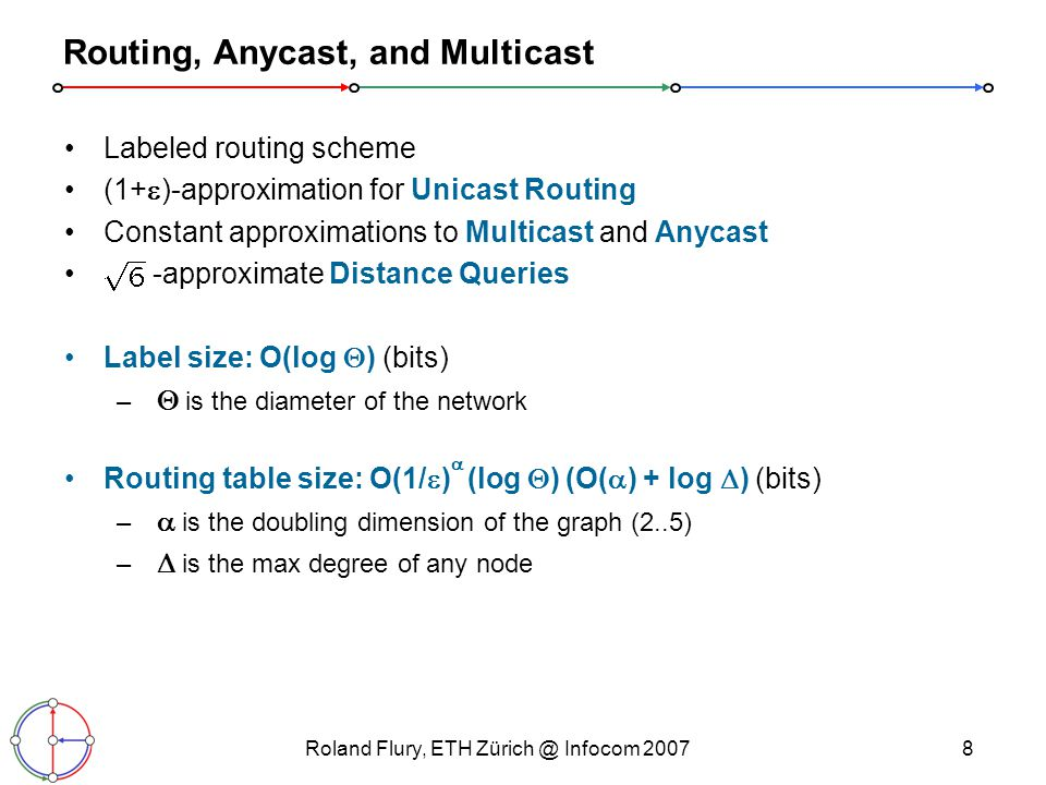 Roland Flury, ETH Infocom Routing, Anycast, and Multicast Labeled routing scheme (1+  )-approximation for Unicast Routing Constant approximations to Multicast and Anycast -approximate Distance Queries Label size: O(log  ) (bits) –  is the diameter of the network Routing table size: O(1/  )  (log  ) (O(  ) + log  ) (bits) –  is the doubling dimension of the graph (2..5) –  is the max degree of any node