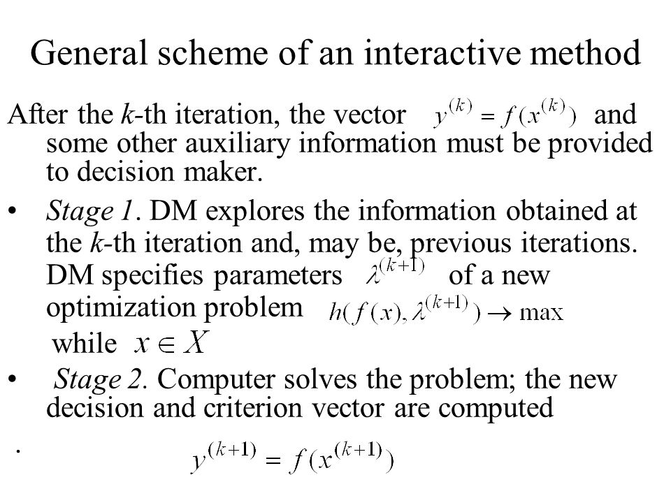General scheme of an interactive method After the k-th iteration, the vector and some other auxiliary information must be provided to decision maker.