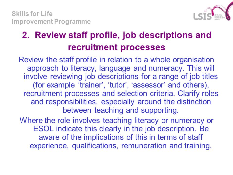 Skills for Life Improvement Programme 2.