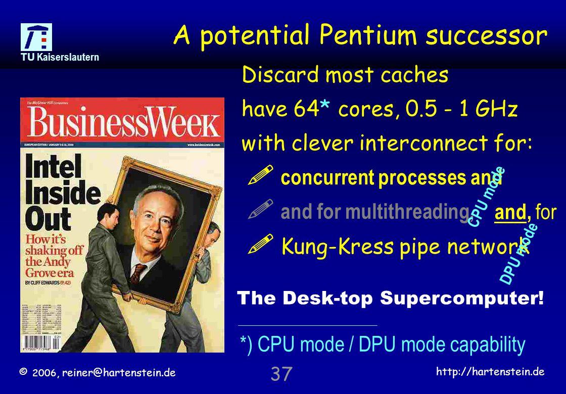 © 2006, reiner@hartenstein.de http://hartenstein.de TU Kaiserslautern 37 A potential Pentium successor Discard most caches have 64* cores, 0.5 - 1 GHz with clever interconnect for: .