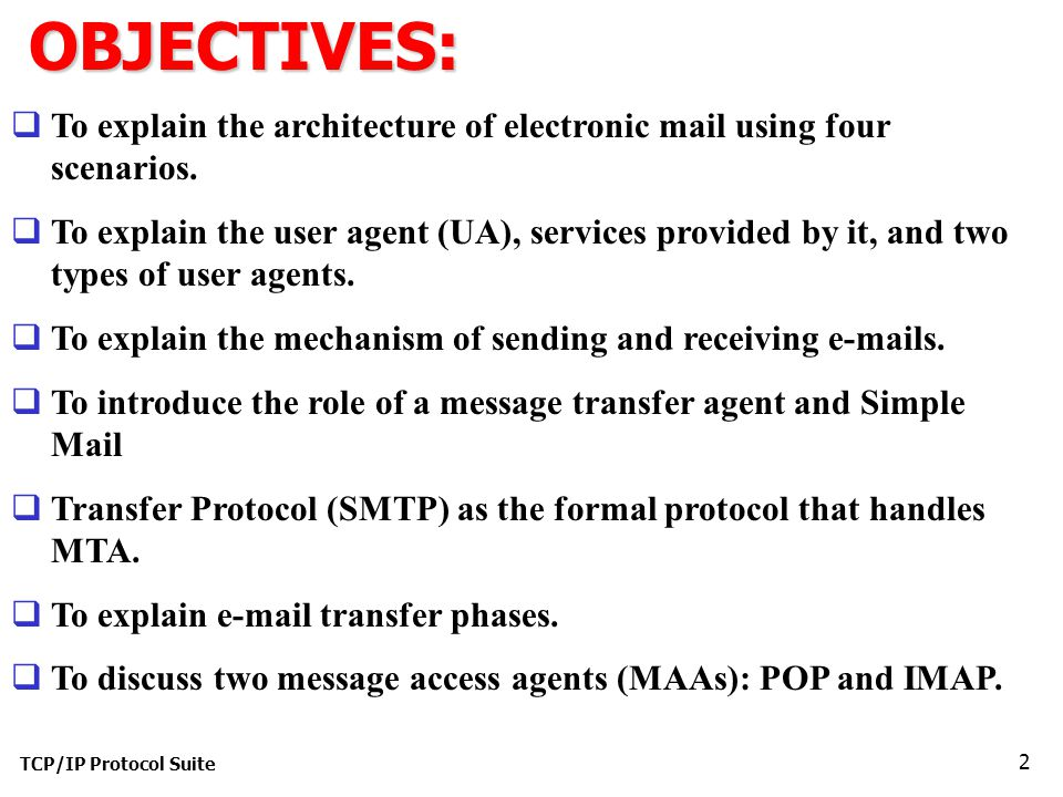 TCP/IP Protocol Suite 2OBJECTIVES:  To explain the architecture of electronic mail using four scenarios.