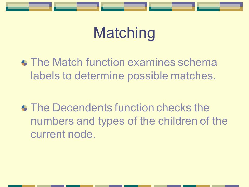 Matching The Match function examines schema labels to determine possible matches.