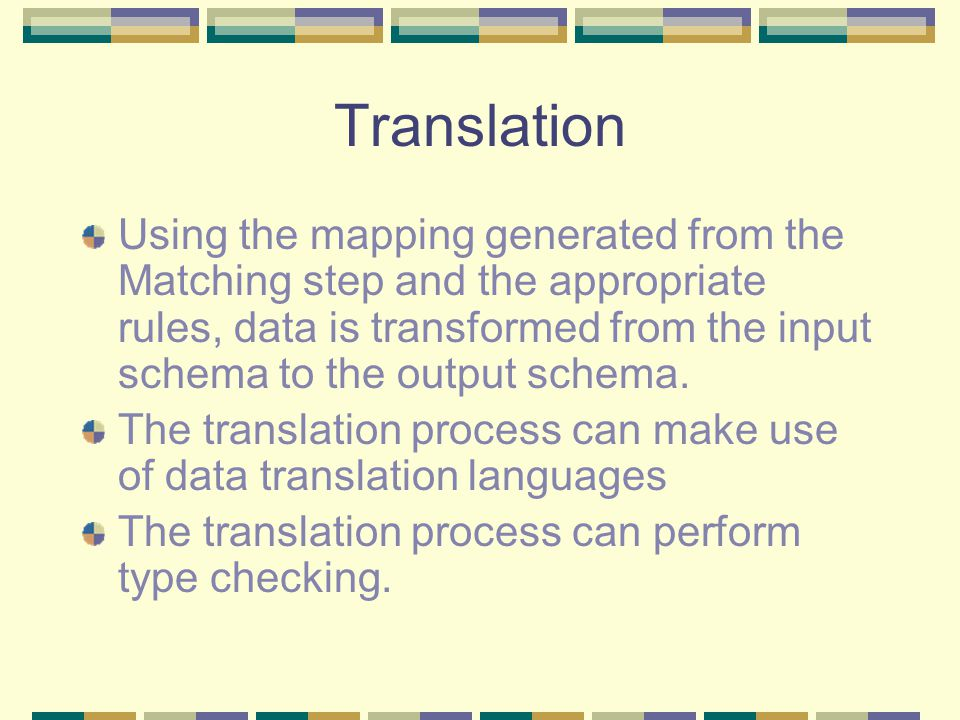 Translation Using the mapping generated from the Matching step and the appropriate rules, data is transformed from the input schema to the output schema.