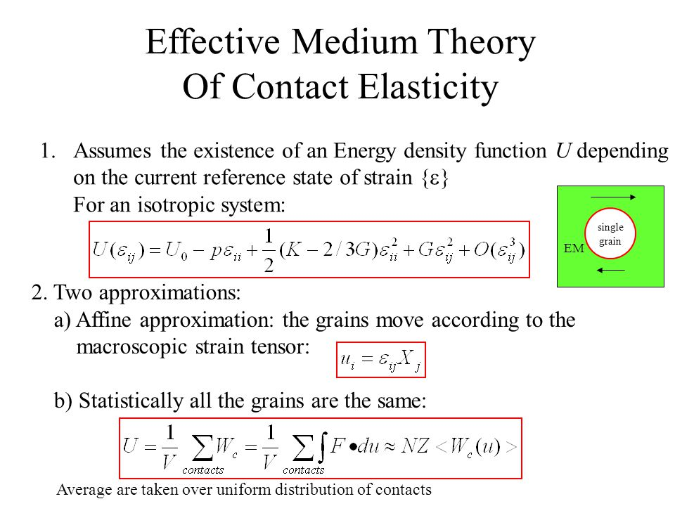 Effective Medium Theory Of Contact Elasticity 1.Assumes the existence of an Energy density function U depending on the current reference state of strain {   For an isotropic system: 2.