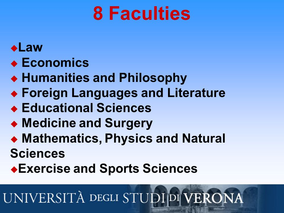 8 Faculties u Law u Economics u Humanities and Philosophy u Foreign Languages and Literature u Educational Sciences u Medicine and Surgery u Mathematics, Physics and Natural Sciences u Exercise and Sports Sciences