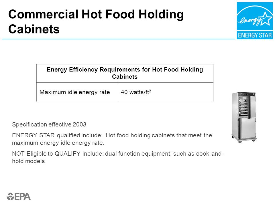 Commercial Hot Food Holding Cabinets Specification Effective 2003 ENERGY  STAR Qualified Include: Hot Food Holding