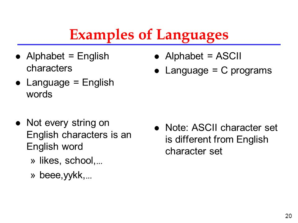 20 Examples of Languages l Alphabet = English characters l Language = English words l Not every string on English characters is an English word »likes, school, … »beee,yykk, … l Alphabet = ASCII l Language = C programs l Note: ASCII character set is different from English character set