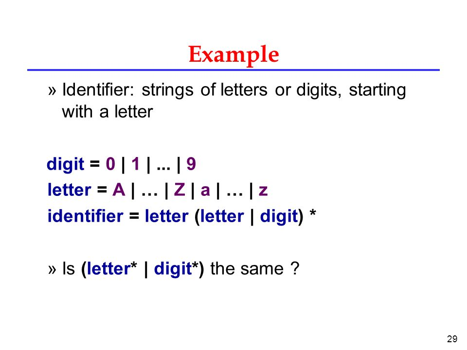 29 Example »Identifier: strings of letters or digits, starting with a letter digit = 0 | 1 |...