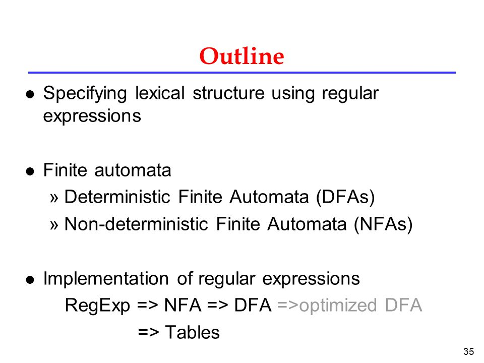 35 Outline l Specifying lexical structure using regular expressions l Finite automata »Deterministic Finite Automata (DFAs) »Non-deterministic Finite Automata (NFAs) l Implementation of regular expressions RegExp => NFA => DFA =>optimized DFA => Tables