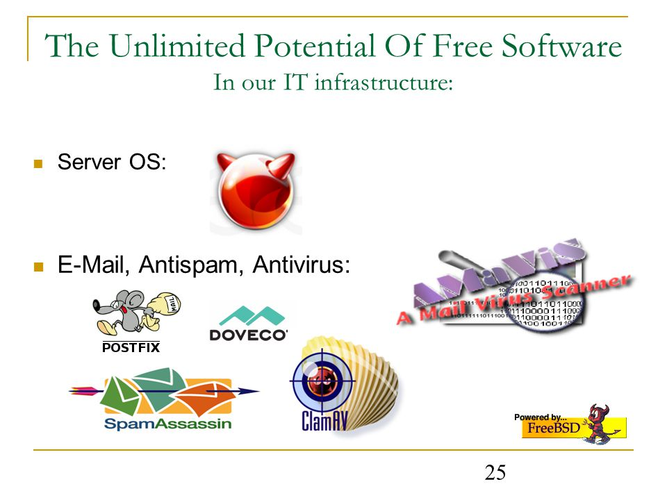25 The Unlimited Potential Of Free Software In our IT infrastructure: Server OS:  , Antispam, Antivirus: