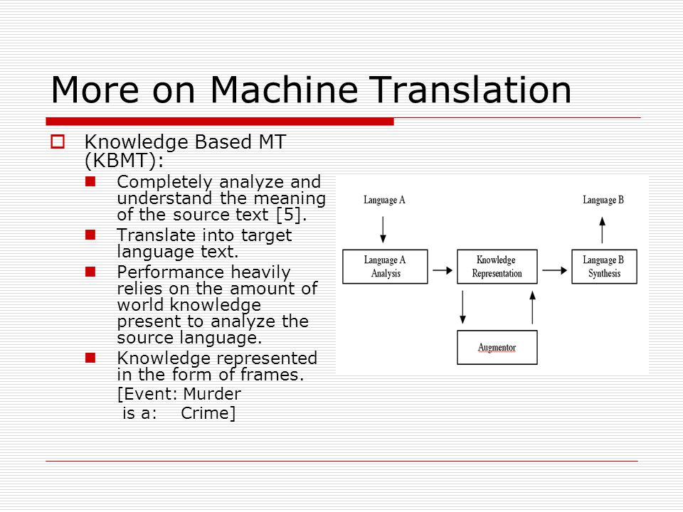 More on Machine Translation  Knowledge Based MT (KBMT): Completely analyze and understand the meaning of the source text [5].