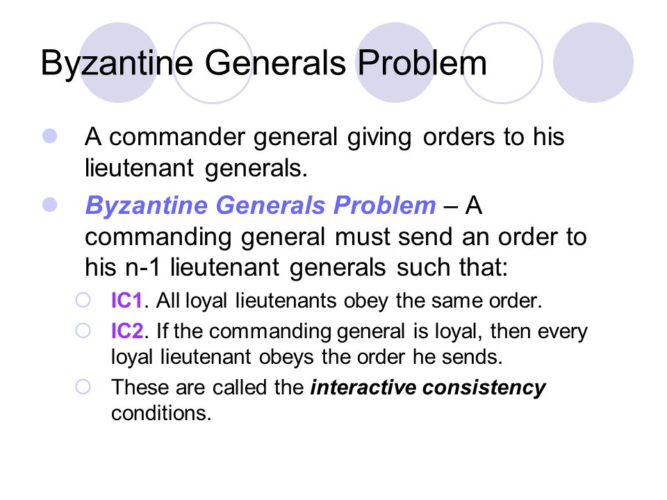 Byzantine Generals Problem A commander general giving orders to his lieutenant generals.