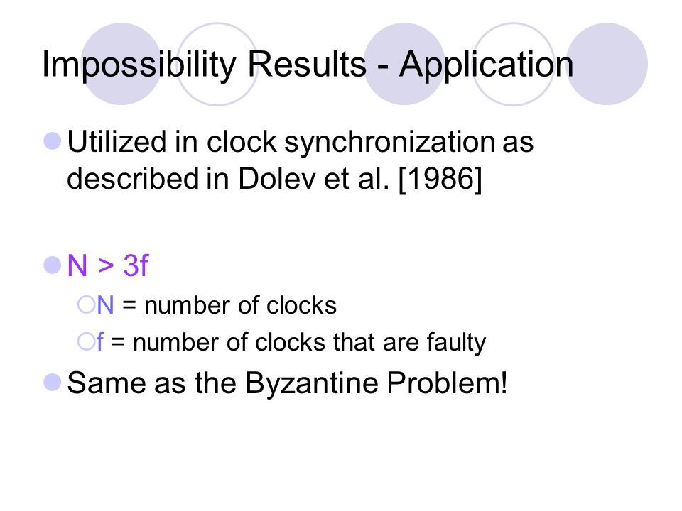 Impossibility Results - Application Utilized in clock synchronization as described in Dolev et al.
